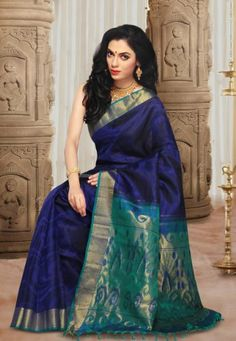 Buy Navy Blue Pure Handloom Kanchipuram Silk Saree with Blouse Online at Low Price in India | Utsav Fashion - Junglee.com