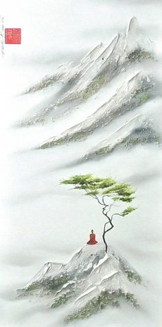 This Beautiful Test Will Determine What Color Your Intelligence Is Zen Painting, Chinese Landscape Painting, Japanese Painting, Landscape Paintings, Art Asiatique, Buddha Art, Zen Art, Japan Art, Beautiful Paintings