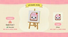 Animal Crossing Pc, Animal Crossing Qr Codes Clothes, Acnl Qr Code Sol, Island Theme, Pink Animals, Strawberry Milk, Pattern Pictures, Animal Games, Kawaii