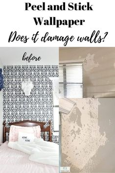 Peel and stick wallpaper; does it damage walls when removed? I've shared my experience with how removable wallpaper can damage walls when it's taken down. #peelandstickwallpaper Homemade Home Decor, Diy Home Decor, Wall Decor Crafts, Garage Sale Finds, Diy Home Accessories, Diy Ideas, Decor Ideas, Upcycling Ideas, Time Saving