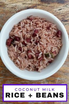 Easy Caribbean beans and rice recipe with coconut milk from southern Costa Rica. #Vegan #vegetarian Coconut Rice And Beans, Coconut Milk Rice, Rice And Beans Recipe, Coconut Milk Recipes, Bean Recipes, Rice Recipes, Vegetable Recipes, Caribbean Rice And Beans, Easy Salads