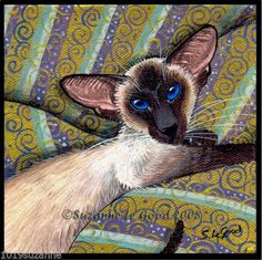 LARGE LIMITED EDITION SEALPOINT SIAMESE CAT GOLD PAINTING PRINT SUZANNE LE GOOD | eBay