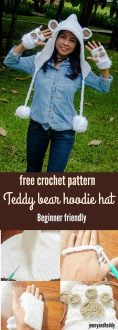 free crochet pattern teddy bear hoodie crochet hat free pattern by jennyandteddy