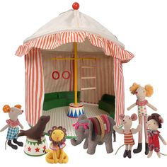 Please check new Maileg Circus Tent. A set of Maileg circus tent and 7 friends to run Eco Kids, Fabric Toys, Circus Party, Handmade Toys, Doll Toys, Kids Playing, Little Ones, Gifts For Kids, Kids Toys