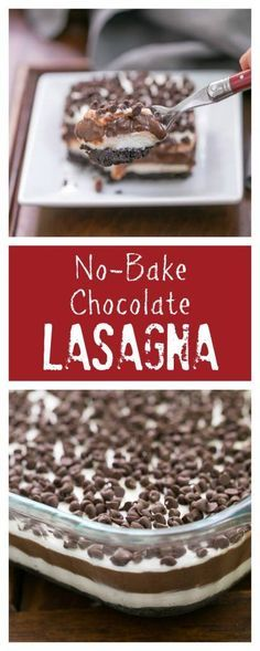 Chocolate Lasagna | A cool, decadent, no-bake, layered chocolate extravaganza! @lizzydo