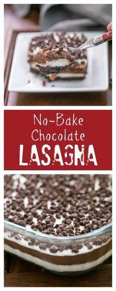 Chocolate Lasagna | A cool, decadent, no-bake, layered chocolate extravaganza! @lizzydo