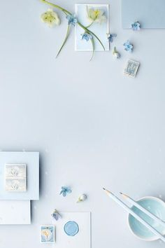 MaeMae x SC Stationery Collection: French Blue! This image contains beautifully styled light blue props on a french blue background with blue pink florals. Image has negative space for adding in your own designs.