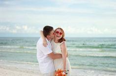 Beach wedding, fun sunglasses heart shaped
