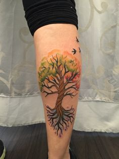 Watercolor tree tattoo done by Laura Exley at Damask Tattoo in Seattle, WA. December 12, 2015.