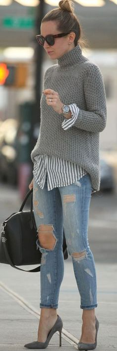 Fall trends | Grey turtleneck, striped shirt, jeans, heels, handbag