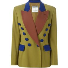 Moschino Vintage Colour Block Blazer ($654) ❤ liked on Polyvore featuring outerwear, jackets, blazers, green, vintage blazer, color block blazer, wool jacket, colorblock blazer and green wool jacket