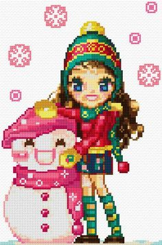 Cross Stitch | Girl with Snowman xstitch Chart | Design