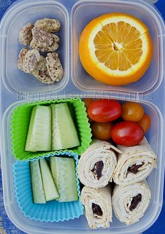 Day 380 - Cream cheese, turkey and dried cherry wrap, red and orange grape tomatoes, cucumbers, an orange and some cherry/vanilla trail m. Bento Recipes, Lunch Box Recipes, Lunch Snacks, Kid Lunches, School Lunches, Healthy Meals For Kids, Kids Meals, Healthy Lunches, Easy Lunch Boxes