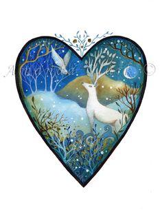 Heart art print. 'February Moon'. By Amanda by earthangelsarts