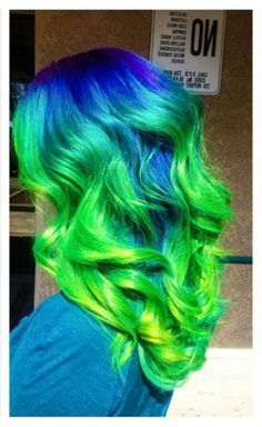 Blue green ombre dyed hair @makeupbyfrances