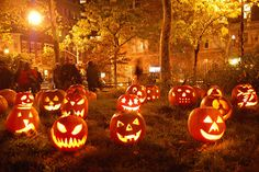 How fun to fill a yard with Jack o' Lanterns!