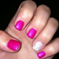 Gel nails with shellac nail polish