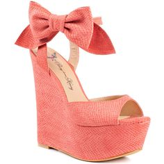 Penny Loves Kenny Women's Dwight - Coral Matte (120 AUD) ❤ liked on Polyvore featuring shoes, wedges, heels, zapatos, high heels, coral matte, orange shoes, croc footwear, coral high heel shoes and coral wedge shoes