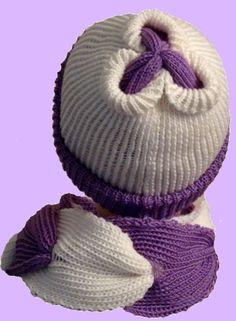 Шапочка с цветком в комплекте с шарфом
