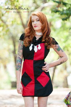 Batman Harley Quinn inspired cosplay apron by HauteMessThreads,