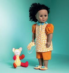 """M6717 pattern for Clothes For 18"""" Doll, Mask, Slippers and Toy"""