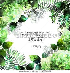 Green watercolor  hydrangea design. Vector floral card