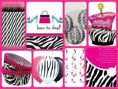 Pink Zebra Born to Shop Birthday Party Supplies