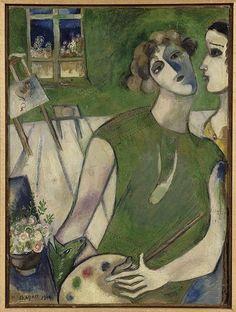L'Autoportrait en vert 1914 Huile sur carton marouflé sur toile 50,7 x 38 cm Musée national d'art moderne - Centre de Création Industrielle, Centre Georges Pompidou,  dépôt au musée national Marc Chagall by renzodionigi, via Flickr