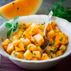 4 Ingredient Melon Mint Salad. Just 10 minutes to fresh, juicy heaven.