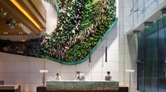 The indoor garden lobby at Hotel Icon, Hong Kong