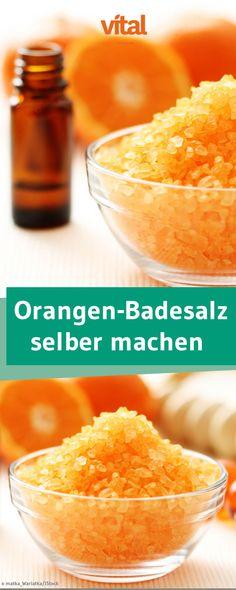 Fruchtiges Orangen-Badesalz könnt ihr mit nur wenigen Zutaten einfach selber machen!