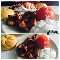 Delicii grecești: Gyros cu sos tzatziki // A Greek delight: Gyros with tzatziki sauce Tzatziki Sauce, Greek, Lunch, Ethnic Recipes, Food, Meals, Lunches, Yemek, Eten