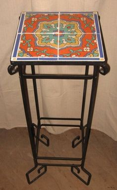 Vintage Tudor Tile 1927 39 29 034 Tall Wrought Iron Plant Stand Occasional Table California Spanish Mission Tables Pinterest