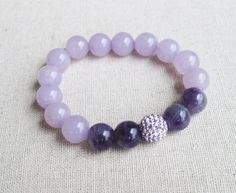 Tranquility - Beaded Stretch Bracelet - Mixed Amethyst Beads with Lavendar Pave Ball Stretch Bracelets, Beaded Bracelets, Love And Light, How To Make Money, Amethyst, Beads, Jewellery, Beautiful, Fashion