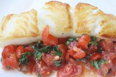 Bruschetta Sea Bass - sea bass is in season now, is super tasty and can be sourced sustainably Fish Recipes, Seafood Recipes, Cooking Recipes, Cooking Fish, Healthy Recipes, Chilean Recipes, Chilean Food, Fish Dishes, Seafood Dishes