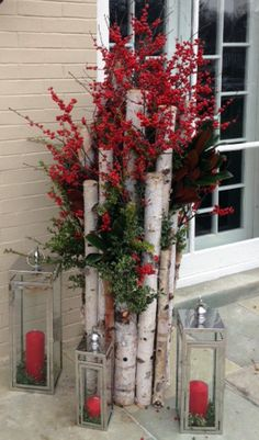 Winter, decor, entrance, home, door, lanterns, birch, winterberry, landscape, design, garden
