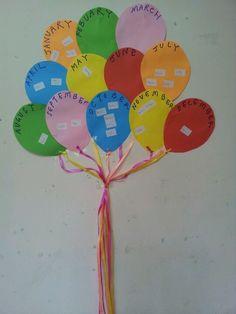 "birthday display with ""balloons"" Birthday Chart Classroom, Preschool Birthday, Birthday Bulletin Boards, Birthday Charts, Birthday Display, Birthday Wall, Birthday Board, Happy Birthday, School Displays"