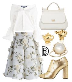 """Mrs. Potts"" by leslieakay ❤ liked on Polyvore featuring Dolce&Gabbana, Jacquemus, Chicwish, MaxMara, Disney, Anzie, disney, disneybound, BeautyandtheBeast and disneycharacter"
