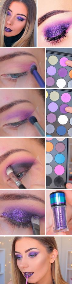 Purple Smokey Glitter | Awesome Prom Makeup Ideas for Blue Eyes | DIY New Years Eve Makeup Looks Eyeshadows