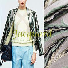 veste motif feuillage vert et gris. Tissu jacquard pas cher par fabricasians