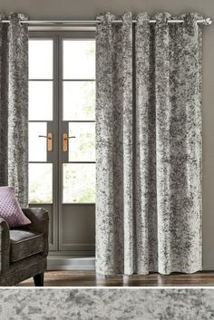 Buy Crushed Velvet Eyelet Lined Curtains from the Next UK online shop Curtains With Blinds, Velvet Curtains Bedroom, Luxurious Bedrooms, Curtains Bedroom, Grey Curtains Living Room, Curtains Crushed Velvet, Living Room Inspiration, Velvet Bedroom, New Room