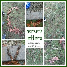 Nature Letters (Photo from Rubber Boots and Elf Shoes) Preschool Literacy, Phonics Activities, Montessori Education, Teaching Kindergarten, Nanny Activities, Preschool Alphabet, Nature Activities, English Activities, Preschool Themes