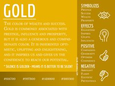 Gold Color Meaning - The Color Gold Symbolizes Wealth and Success Color Symbolism, Aura Colors, Spiritual Meaning, Color Meanings, Color Magic, Color Psychology, Art Therapy, Colour Therapy, Chromotherapy