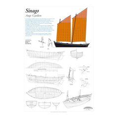 Sinago, Ange Gardien, plan de modélisme | Chaloupe de Séné, construite en 1905. Les sinagos pêchent les huîtres et les crevettes à la drague, et le poisson au chalut à perche, sur une zone s'étendant de la baie de Quiberon à l'estuaire de la Vilaine | A retrouver sur : http://www.chasse-maree.com/modelisme/5450-sinago-ange-gardien-plan-de-modelisme.html