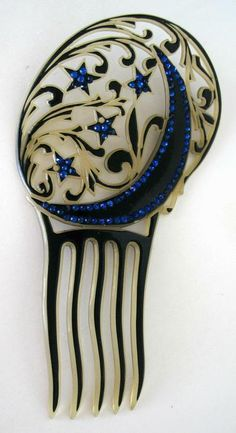 Vintage hair comb. Crescent moon and stars.