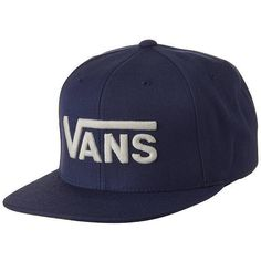 Vans - Drop V Snapback Cap Wool Acrylic Fashion Exclusive Blue (97 BRL) ❤  liked on Polyvore featuring accessories c2ca75e8ad8