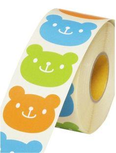 kawaii bear stickers -tri colour - set of 36 pcs -. $4.00, via Etsy.