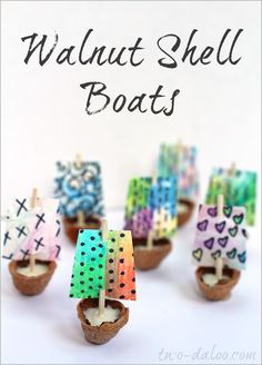 Walnut Shell Boats with Watercolor Pencil Sails. These are a fun project to work on with your kids.