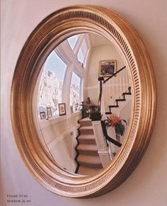 Convex Wall Mirror vintage wall mirror round golden convex & wooden ornate frame