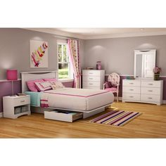 Majestic Queen-Size Storage Platform Bed in Pure White